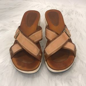 Cole Haan Canvas & Leather Wedge Sandals